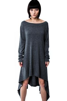 AFTER EFFECT.  For the party-hard, and, the party-not-at-all's. - Soft Knit.- Boat Neck & Long Back.- Relaxed. Chill-vibez knit dress with wide neck and lon