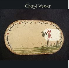 Handpainted Canvas Candle Mat with Sheep Flowers by cherylweaver