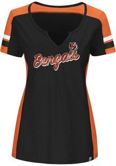 Cincinnati Bengals Womens Pride Playing Black Short Sleeve Plus Tee