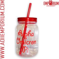 Alpha Omicron Pi Emporium now has the cutest mason jar tumblers with straws!! Love these and would be so cute for recruitment parties or bid day!