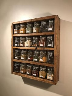Rustic Spice Rack Includes Jars Reclaimed Pallet Wood