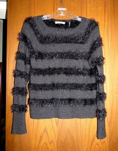 Rebecca Taylor $245 Black Charcoal Sparkke & Stripes Tinsel Knit Sweater XS #RebeccaTaylor #Crewneck