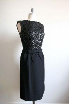 vintage little black dresses | Vintage 1960s Little Black Wiggle Dress with Sequins by dingaling, $68 ...