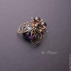 Муха Цокотуха - разноцветный,муха,брошь,насекомые,wire wrap,подарок,латунь