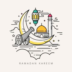 Vector Illustration For The Celebration Of Holy Month Ramadan With Line Art Design Vector and PNG Ramadan Cards, Ramadan Greetings, Ramadan Gifts, Ramadan Mubarak, Line Art Design, Ramadan Poster, Ramadan Activities, Arabic Pattern, Illustration