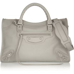 Balenciaga City textured-leather tote (€1.870) ❤ liked on Polyvore featuring bags, handbags, tote bags, grey, zippered tote bag, grey handbags, gray tote bag, grey purse and shoulder strap purses