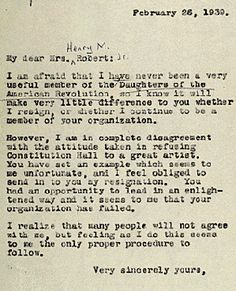 Eleanor Roosevelt's letter to the Daughters of the American Revolution, resigning from the organization after their refusal to allow Marion Anderson to sing at the Lincoln Memorial.