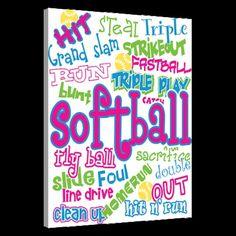Softball Canvas Pic for girls room | Softball Girl