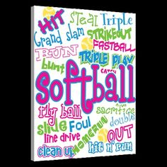 Softball Canvas Pic for girls room | Softball Girl