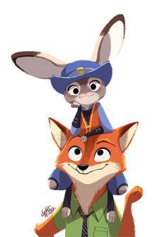 Disney's Zootopia - introducing Nick Wilde ( Fox ) and Judy Hopps ( Rabbit ) Disney Pixar, Walt Disney, Disney And Dreamworks, Disney Animation, Disney Magic, Disney Characters, Zootopia Characters, Disney Concept Art, Disney Fan Art