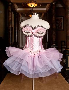 Custom Size pink brown and ivory tulle burlesque corset prom dress