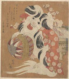 Totoya Hokkei (Japanese, 1780–1850). Surimono Calendar for the Dog Year, 1814. Edo period (1615–1868). 1814, Japan. The Metropolitan Museum of Art, New York. Gift of Estate of Samuel Isham, 1914 (JP1032) #dogs