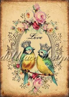 INSTANT Digital DOWNLOAD - DIY Printable Victorian Love Birds - Valentine - Wedding - Anniversary - Antique Crowns and Roses