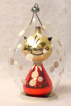cute vintage figural cat italy italian glass xmas ornament - Italian Christmas Ornaments