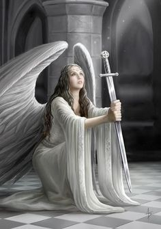 Present your loved one with a beautiful illustration of hope when you send a greeting card from Blessing Cards 6 Pack. These six identical cards feature gorgeous Anne Stokes artwork depicting a fervent angel maiden holding a sword. Fantasy Kunst, Fantasy Art, Illustration Fantasy, Anne Stokes, Angel Warrior, Ange Demon, Angel Pictures, Beautiful Angels Pictures, Guardian Angels