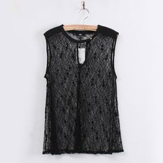 Womens Black Lace Embroidery Hollow Sleeveless Vest