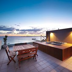 Breathtaking view of Hobson's Bay from the rooftop terrace of this penthouse in Melbourne, Australia. Credit to agents: Kayne Lanyon and Sarah Wood of Marshall White.