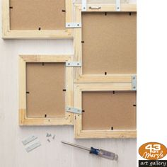 Turn basic photo frames into wall art by connecting frames with hardware called mending plates. #photoframes #weekendworrior #diy