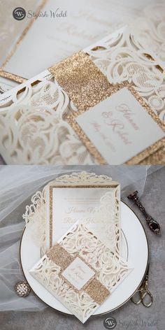 This gorgeous ivory laser cut wrap features a rose gold glittery belly band with a tag and a rose gold backer. It is perfect for any wedding and is breathtakingly beautiful. Affordable Wedding Invitations, Laser Cut Wedding Invitations, Elegant Wedding Invitations, Belly Bands, Laser Cutting, Wedding Designs, Ivory, Place Card Holders, Romantic