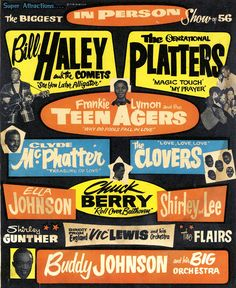 """Chuck Berry (1926-2017) """"Roll Over Beethoven"""" 1956, Rock & Roll / R & B Concert Poster. Chuck Berry the man who 'started it all,' dead at 90. (Bill Haley, The Platters, Frankie Lymon, Clyde McPhatter, Chuck Berry, The Clovers, Shirley & Lee and more)"""