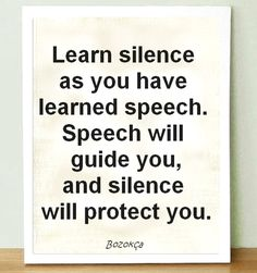 Learn silence as you have learned speech. Speech will guide you, and silence will protect you. - quote