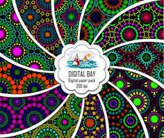 MANDALA Digital paper pack  Instant download  by DigitalBay