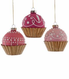 """Katherine's Collection Happily Ever After Christmas Collection Twelve Assorted 4"""" Glass Cupcake Ornaments Free Ship"""