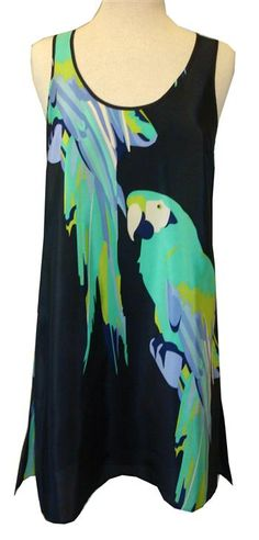 Amanda Uprichard : Navy Parrot Print Silk Tank Dress