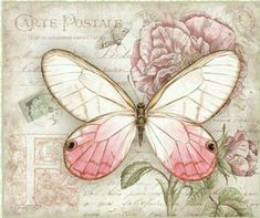 Solve Ancienne carte postale jigsaw puzzle online with 80 pieces Vintage Butterfly, Butterfly Cards, Butterfly Print, Images Vintage, Vintage Cards, Vintage Paper, Illustration Papillon, Butterfly Illustration, Decoupage Vintage