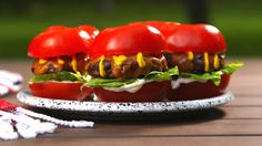 Here's a must-read article from Delish: Tomato Bun Sliders Are The Low-Carb Grilling Hack You Need This Summer Meat Recipes, Low Carb Recipes, Cooking Recipes, Healthy Recipes, Healthy Foods, Grill Recipes, Cooking Tips, Healthy Eating, Low Calorie Dinners