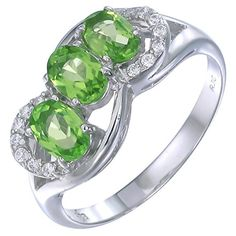 Vir Jewels Sterling Silver Peridot 3 Stone Ring 115 CT In Size 6 ** More info could be found at the image url.Note:It is affiliate link to Amazon.