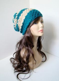 "Burst Slouchy Beanie - Teal Dream $25 -- LIKE MY PAGE >  www.facebook.com/tzigns -- SHOP > www.tzigns.etsy.com Coupon code ""Pin10"" saves you 10%! #christmas #gift #giftguide #giftsforher #crochet #etsy #yarn"