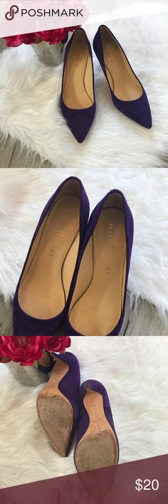 {•Ivanka Trump Heels•} Adorable purple suede heels! In used but good condition! Pictures show the wear accurately l! Wear on soles and on heels tips, but still a lot of life left! Size 7.5 Name brand Ivanka Trump. Heel height is 3inches.  From a clean and smoke free environment! {•Posh Ambassador  {•200+ Sales Ivanka Trump Shoes Heels