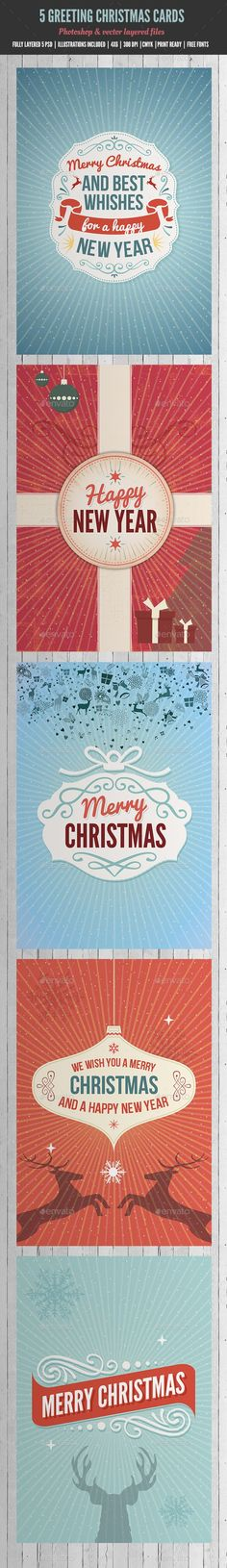 Helvetica Holiday Greeting Card Template from Inkd Seasonal - new year greeting card template