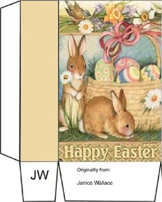 Cardboard Gift Boxes, Printable Box, Box Templates, Easter Printables, Candy Wrappers, Paper Basket, Easter Party, Time To Celebrate, Diy Box