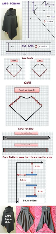 Tuto gratuit/ free pattern, couture/sewing, diy cape/ poncho:                                                                                                                                                                                 Plus
