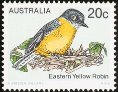 Eastern Yellow Robin stamps - mainly images - gallery format