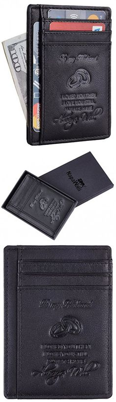NapaWalli Wife To Husband Gift Best Anniversary Birthday Gifts For Him Genuine Leather RFID Blocking slim Wallet Card Holder (Napa Black W/ Embossed Logo)