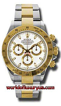 116523-WS - This Rolex Oyster Perpetual Cosmograph Daytona Mens Watch, 116523-WS features 40 mm Stainless Steel case, White dial, Sapphire crystal, Fixed bezel, and a 18K Yellow gold bracelet. Rolex Oyster Perpetual Cosmograph Daytona Mens Watch, 116523-WS also features Automatic movement, Analog display. This watch is water resistant up to 100m/330ft. - See more at: http://www.worldofluxuryus.com/watches/Rolex/Daytona/116523-WS/641_645_6537.php#sthash.E1aFOYDP.dpuf