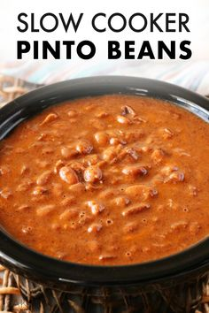 No-Soak Crock-Pot Beans take only 10 minutes to prep and are the most delicious Pinto beans you've ever tasted thanks to smoky bacon, onion, and spices. Bacon In Slow Cooker, Slow Cooker Beans, Crock Pot Slow Cooker, Beans In Crockpot, Crockpot Recipes, Cooking Recipes, Crock Pot Beans, Oven Recipes, Recipies