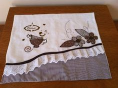 Love the lace with the stripe at an angle Dish Towels, Tea Towels, Embroidery Applique, Machine Embroidery Designs, Quilting Projects, Sewing Projects, Decorative Hand Towels, Diy Couture, Kitchen Towels