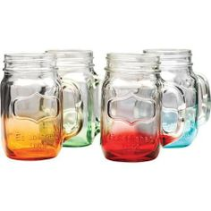 CIRCLEWARE YORKSHIRE 4-PIECE COLORED BOTTOM MASON JAR MUG SET MULTI - 17.5 OUNCES