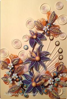 Картина панно рисунок Квиллинг Орхидея Бумажные полосы Клей Проволока фото 1