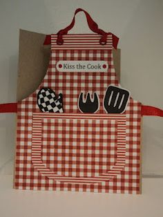 Barbeque apron card...cute detail of tools tucked into the pocket...
