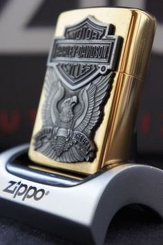 ZIPPO LIGHTER 24Ct GOLD PLATED THE GOLDEN HARLEY DAVIDSON MADE IN THE USA RARE & UNUSUAL ZIPPO LIGHTERS, CASES, AND ACCESSORIES