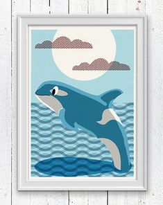 Nursery room wall Art Print  Orca Killer Whale  by seasideprints