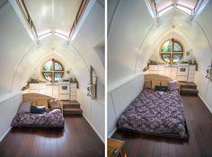 Zyl Vardo | inside the Dew House -  loveseat-bed under the kitchen