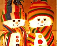 """diy fishbowl snowmen/plus how to make a fleece hat wo sewing/note bowls are about 4"""" in order to get sock over them"""