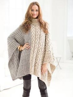 Free Knitting Pattern for Chatsworth Cable Poncho - Pullover poncho with an 8 ro. Free Knitting Pattern for Chatsworth Cable Poncho - Pullover poncho with an 8 row cable on one half and ribbing on the o. Poncho Knitting Patterns, Knitted Poncho, Knitted Shawls, Loom Knitting, Crochet Shawl, Knit Patterns, Free Knitting, Knit Crochet, Crochet Vests