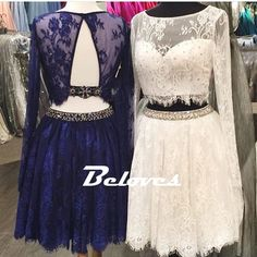 Bateau Lace Long Sleeves Two Piece Homecoming Dress With Cut Out Back